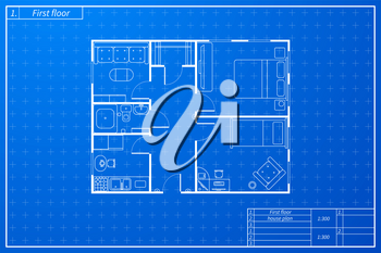 Architecture plan of house with furniture in blueprint sketch style
