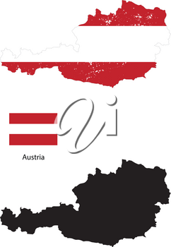 Austria country black silhouette and with flag on background, isolated on white