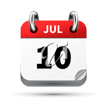 Bright realistic icon of calendar with 10 july date on white