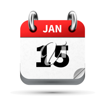 Bright realistic icon of calendar with 15 january date on white