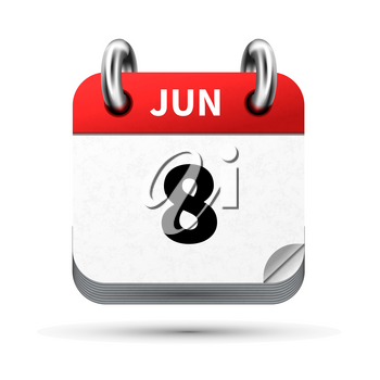 Bright realistic icon of calendar with 8 june date on white