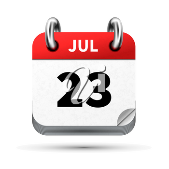 Bright realistic icon of calendar with 23 july date on white