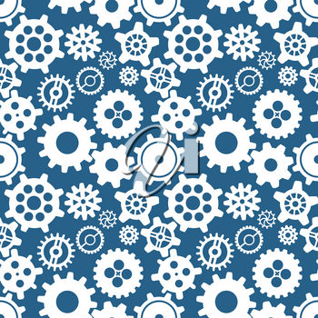 White different silhouettes of cogwheels on blue, seamless pattern