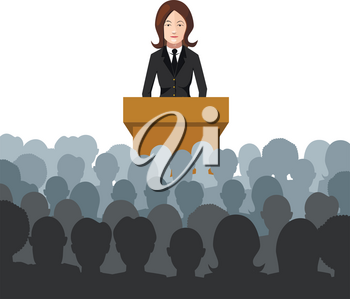 Woman holds a lecture to an audience flat illustration on white
