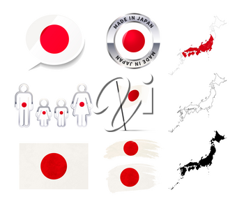 Large set of Japan infographics elements with flags, maps and badges isolated on white