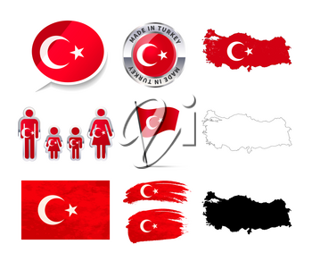 Large set of Turkey infographics elements with flags, maps and badges isolated on white