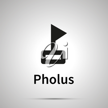 Pholus astronomical sign, simple black icon with shadow