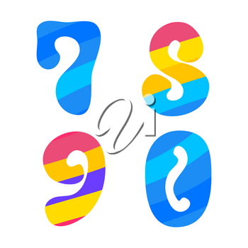 Psychedelic font with colorful pattern. Vintage hippie 7 8 9 0 letters on white background