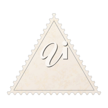 Realistic old blank post stamp in triangle shape with paper texture on white