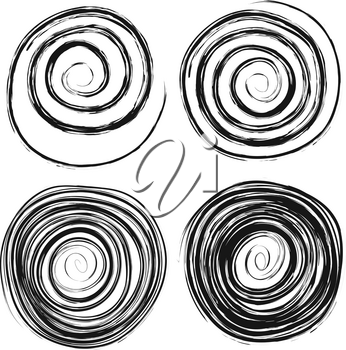 Set of different hand drawn swirls isolated on white