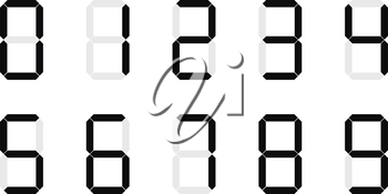 Set of digital number signs made up from seven segments, isolated on white