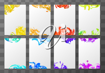 Set of eight a4 blank sheets with abstract paint splashes on transparent background