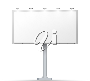 White outdoor billboard with place for advertising and with lighting