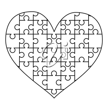White puzzles pieces arranged in a heart shape. Easy Jigsaw Puzzle template ready for print. Cutting guidelines on white