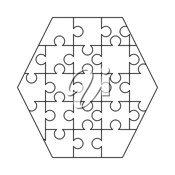 White puzzles pieces arranged in a hexagon shape. Jigsaw Puzzle template ready for print. Cutting guidelines isolated on white
