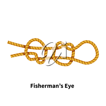 Fisherman's Eye sea knot. Bright colorful how-to guide isolated on white