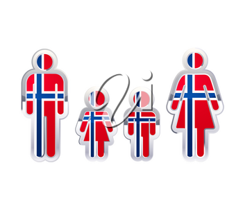 Glossy metal badge icon in man, woman and childrens shapes with Norway flag, infographic element isolated on white