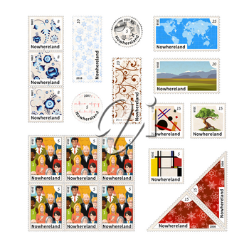 Set of different stamps with illustrations and the price of an imaginary country