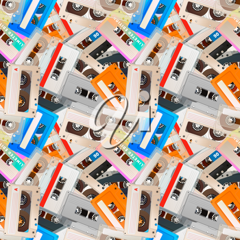 A lot of colorful detailed audio cassettes, vintage tape retro seamless pattern