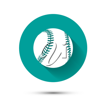 Baseball icon on green background with long shadow