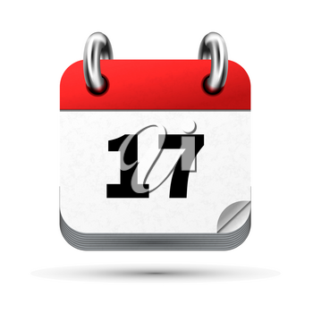 Bright realistic icon of calendar with 17th date on white