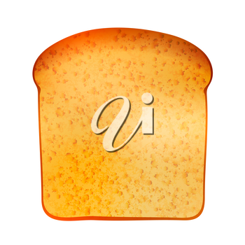 Bright realistic tasty toast isolated on white