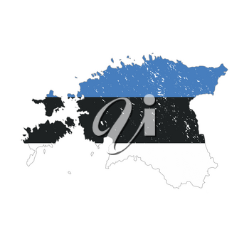 Estonia country silhouette with flag on background on white