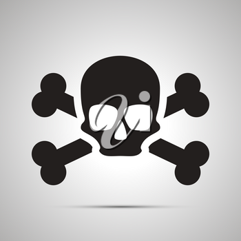 Human skull with bones, simple black icon with shadow