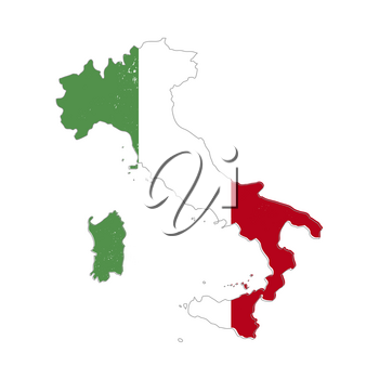 Italy country silhouette with flag on background on white