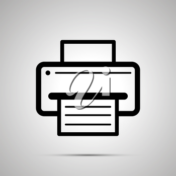 Printer symbol with sheet of paper with text, simple black icon with shadow
