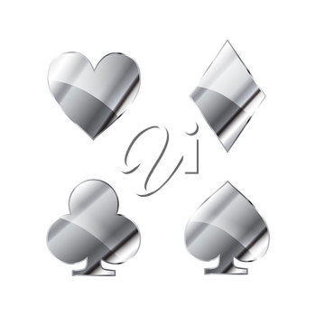 Set of glossy silver card suits icons like hearts, diamond, spades and clubs on white