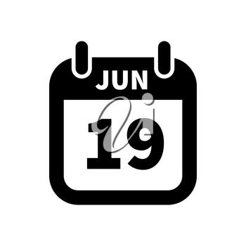 Simple black calendar icon with 19 june date on white