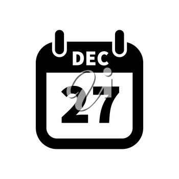 Simple black calendar icon with 27 december date on white