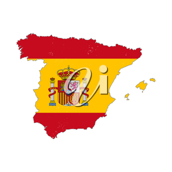 Spain country silhouette with flag on background on white