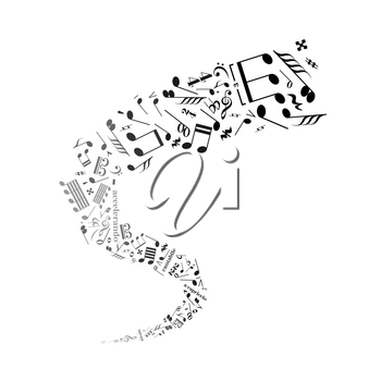 Twisted music notes, abstract sound signs on white