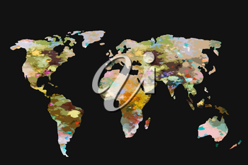 Roughly outlined world map with a colorful background patterns