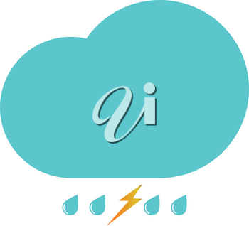 Clouds with the drops blue and thundershtorm icon black color vector illustration isolated