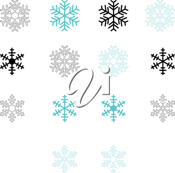 Snowflake set blue and black color Flat style