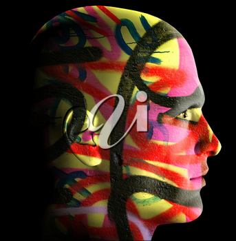 Male portrait covered with messy graffiti tags. 3d digitally created illustration.