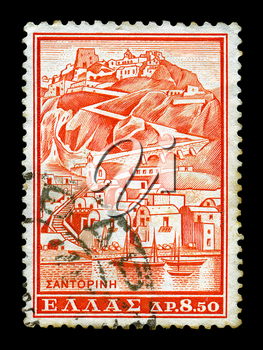 GREECE - CIRCA 1961. Vintage canceled postage stamp with illustration of the island of Santorini, circa 1961.