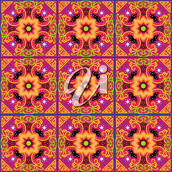 Talavera tile. Vibrant Mexican seamless pattern, originally from Morocco and Lisbon. For fabric, textile, patchwork, flooring and walls