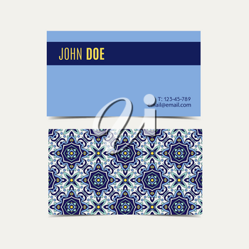 Business card with blue ornaments Portuguese azulejos. Template for corporate identity