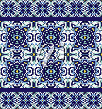 Blue ornament traditional Portuguese azulejos. Oriental seamless pattern imitating the sky-blue glazed ceramic tiles, majolica. Azulejos for fabrics, prints, t-shirts, bags, wrapping paper.