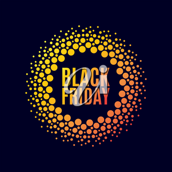 Black Friday sale. Halftone dots circle. Spotted flash . Vector poster