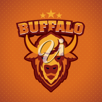 Buffalo Head Logo Mascot Emblem. Talisman college sports teams, e-sport, bull school logo, tattoo, avatar, print t-shirt. The design of the character of a wild ocher bison. Vector illustration.