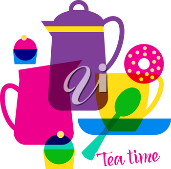 Tea time with lettering. Vector illustration. Isolated object on white background.