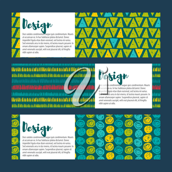 Set Vector  hipster backgrounds in blues and greens. Hand drawn style Trend green flash color.
