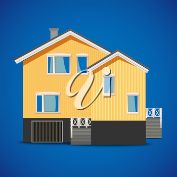 vector private house on a blue background