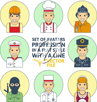 Set of colorful Different profession people flat style icons in circles vector illustration