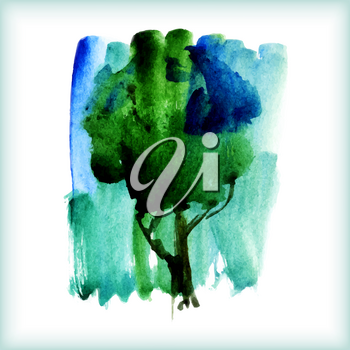 watercolor green tree on a white background for your design